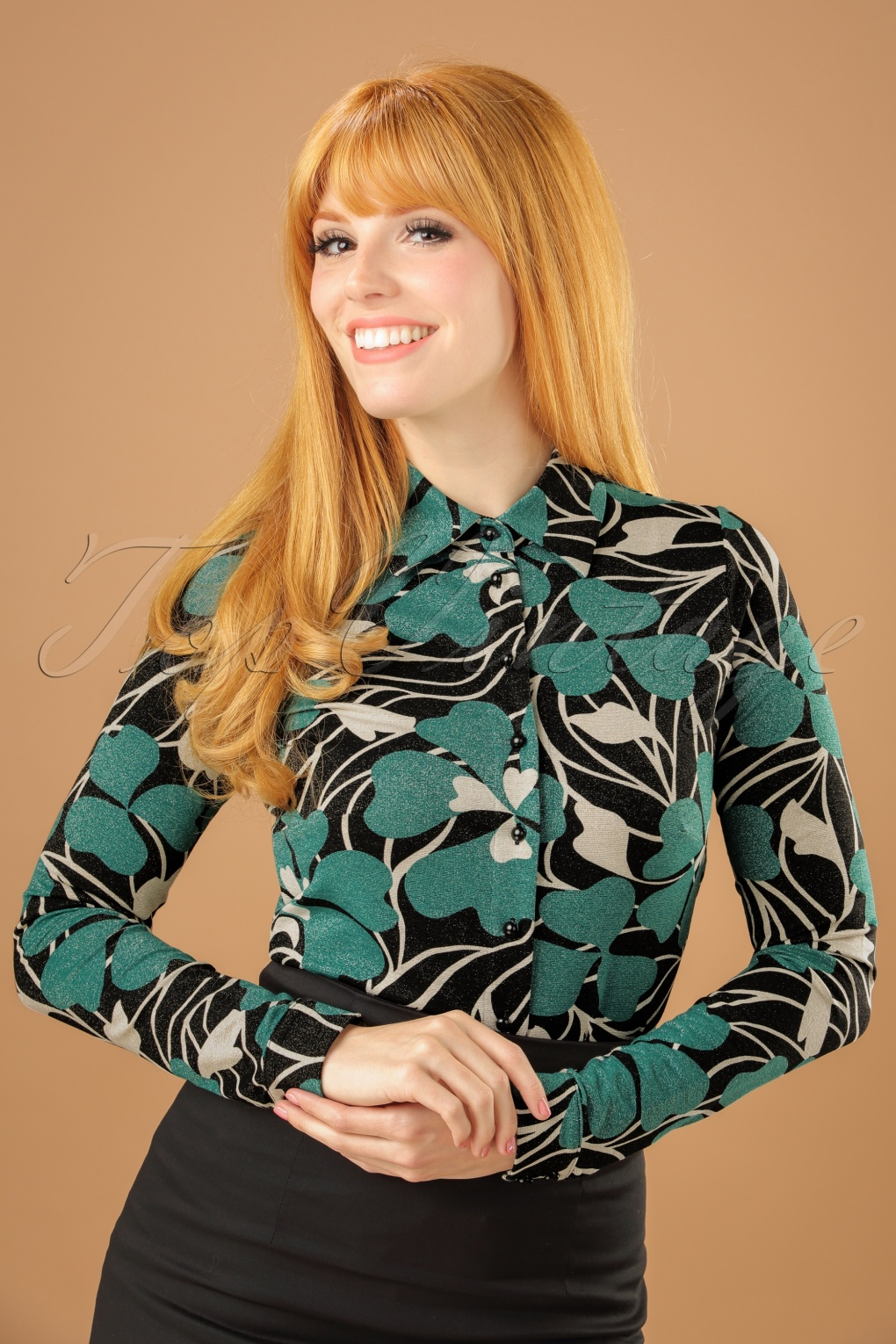 Shop 1960s Style Blouses, Shirts and Tops 60s Shamrock Blouse in Black and Cream £86.58 AT vintagedancer.com