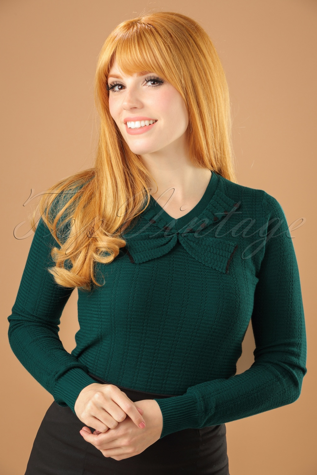 Vintage & Retro Shirts, Halter Tops, Blouses 50s Delight Bow Top in Dragonfly Green £72.50 AT vintagedancer.com