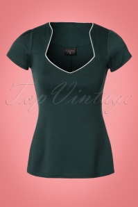 50s Sophia Piped Top in Hunter Green