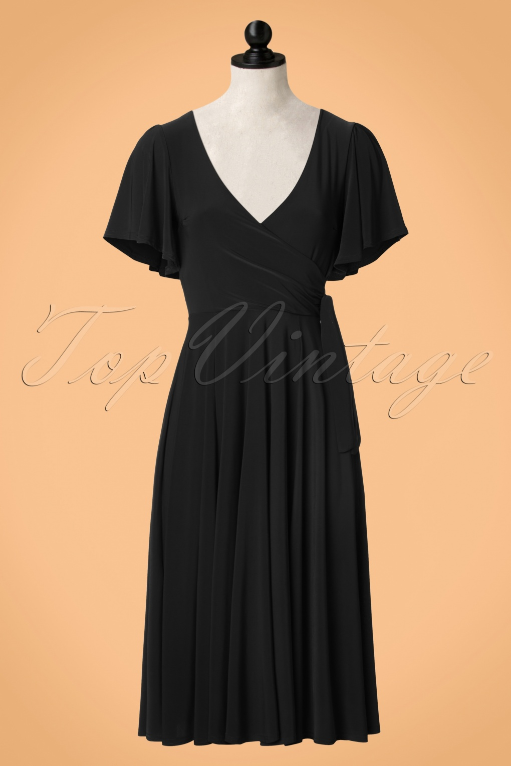 1940s Dresses and Clothing UK 40s Lara Cross Over Swing Dress in Black £54.36 AT vintagedancer.com