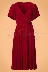 40s Lara Cross Over Swing Dress in Red