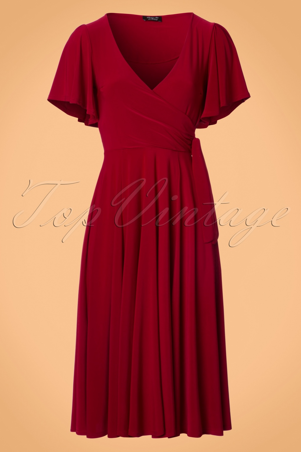 1940s Dresses and Clothing UK 40s Lara Cross Over Swing Dress in Red £54.36 AT vintagedancer.com