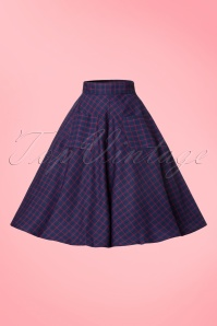 Dancing Days by Banned Red Blue Check Weekend Swing Skirt 122 39 22373 20170808 0003W