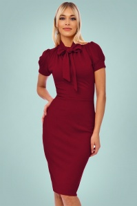 Vintage Chic 50s Bonnie Dress in Wine Red 100 20 19516 20161013 0010