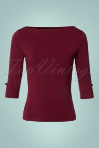 Banned Retro 50s Modern Love Top in Burgundy