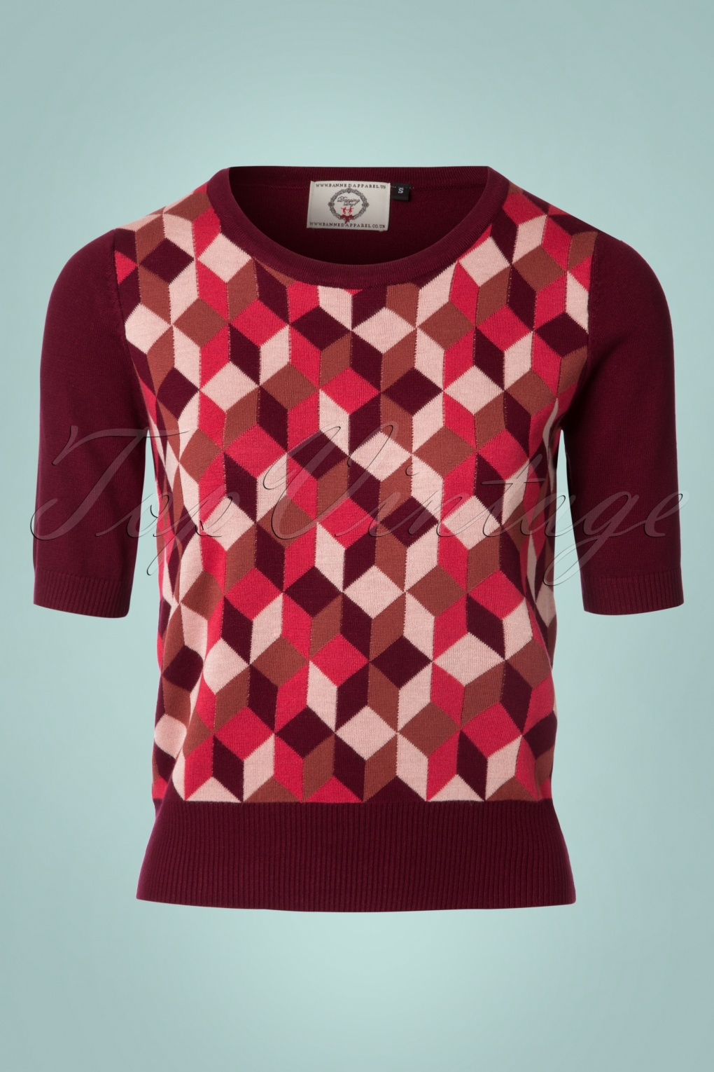 Vintage Sweaters: 1940s, 1950s, 1960s Pictures 60s Retro Cube Jumper in Burgundy £34.53 AT vintagedancer.com