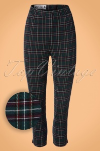 50s Peebles Tartan Cigarette Trousers in Green