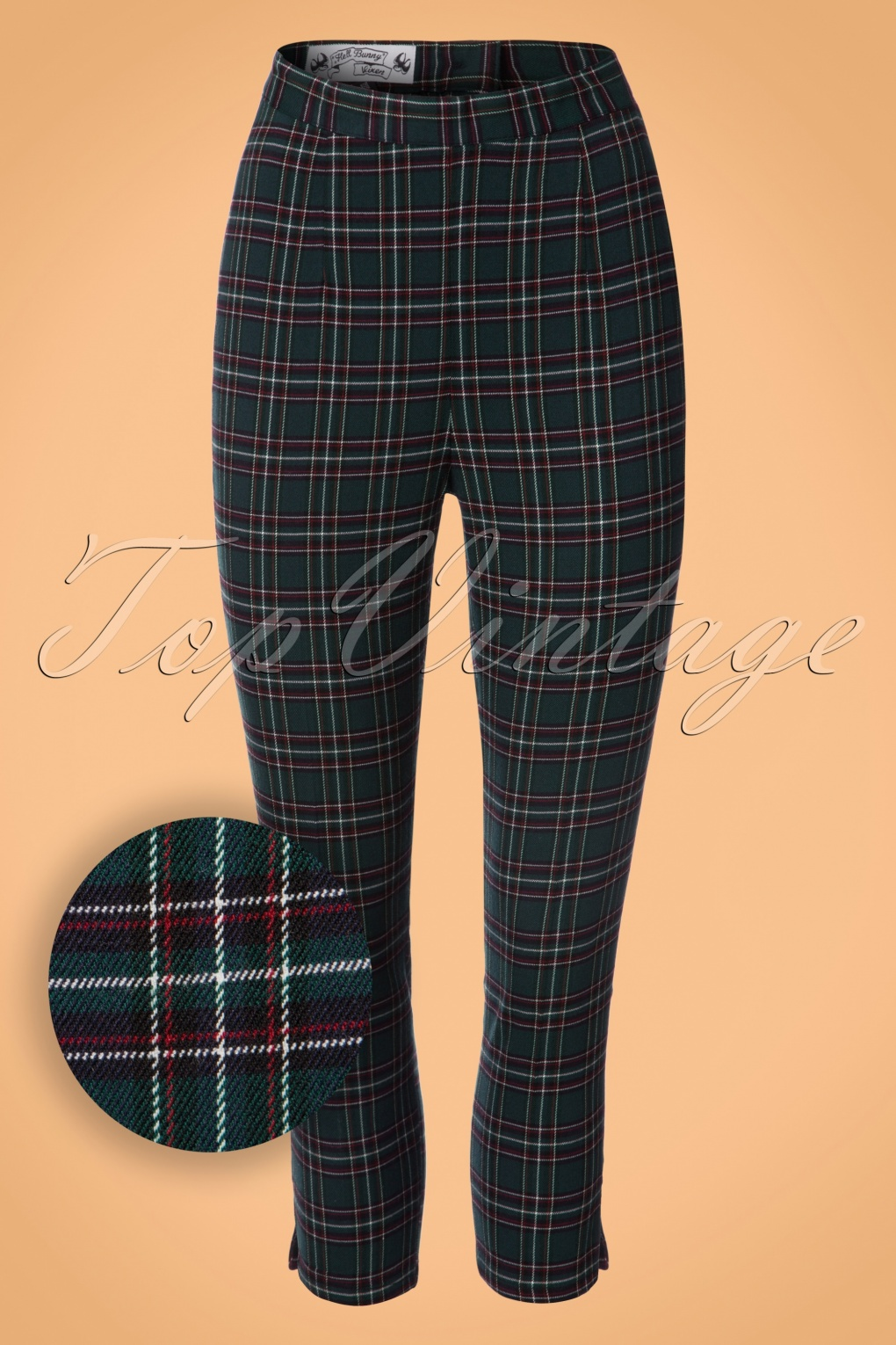Women's 1960s Style Pants 50s Peebles Tartan Cigarette Trousers in Green £27.25 AT vintagedancer.com