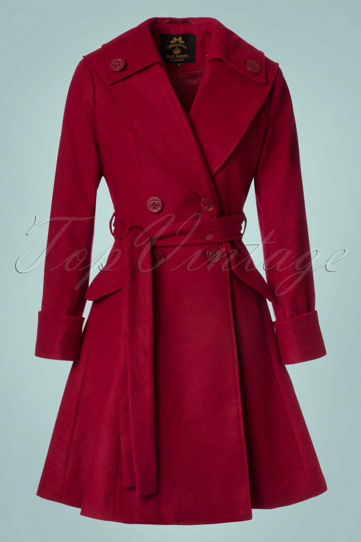 Retro Vintage Style Coats, Jackets, Fur Stoles 50s Olga Coat in Burgundy £111.88 AT vintagedancer.com