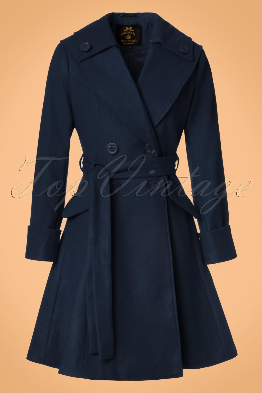 Retro Vintage Style Coats, Jackets, Fur Stoles 50s Olga Coat in Navy £111.88 AT vintagedancer.com