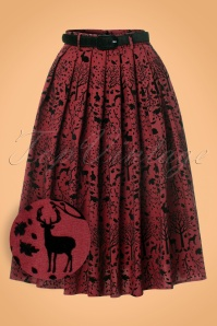 50s Sherwood Skirt in Wine Red