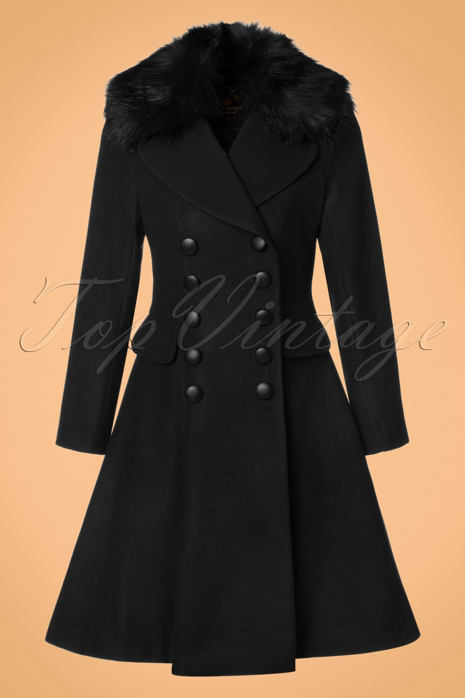 Retro Vintage Style Coats, Jackets, Fur Stoles 50s Milan Coat in Black £113.70 AT vintagedancer.com