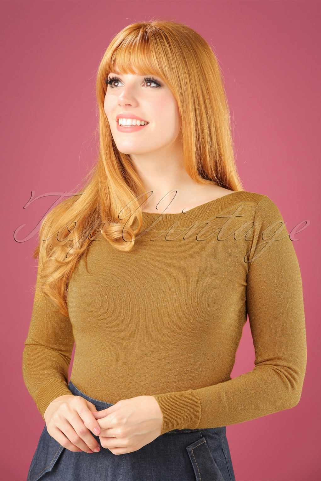 Retro Vintage Sweaters 50s Audrey Lapis Top in Mustard Glitter £57.32 AT vintagedancer.com