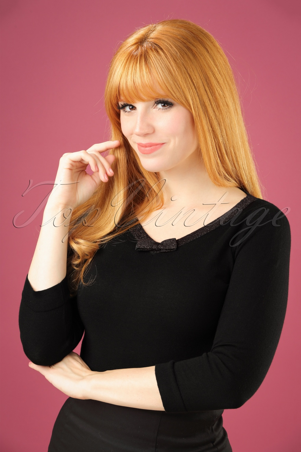 1950s Style Sweaters, Crop Cardigans, Twin Sets 50s Lapis Bow Top in Black £54.55 AT vintagedancer.com