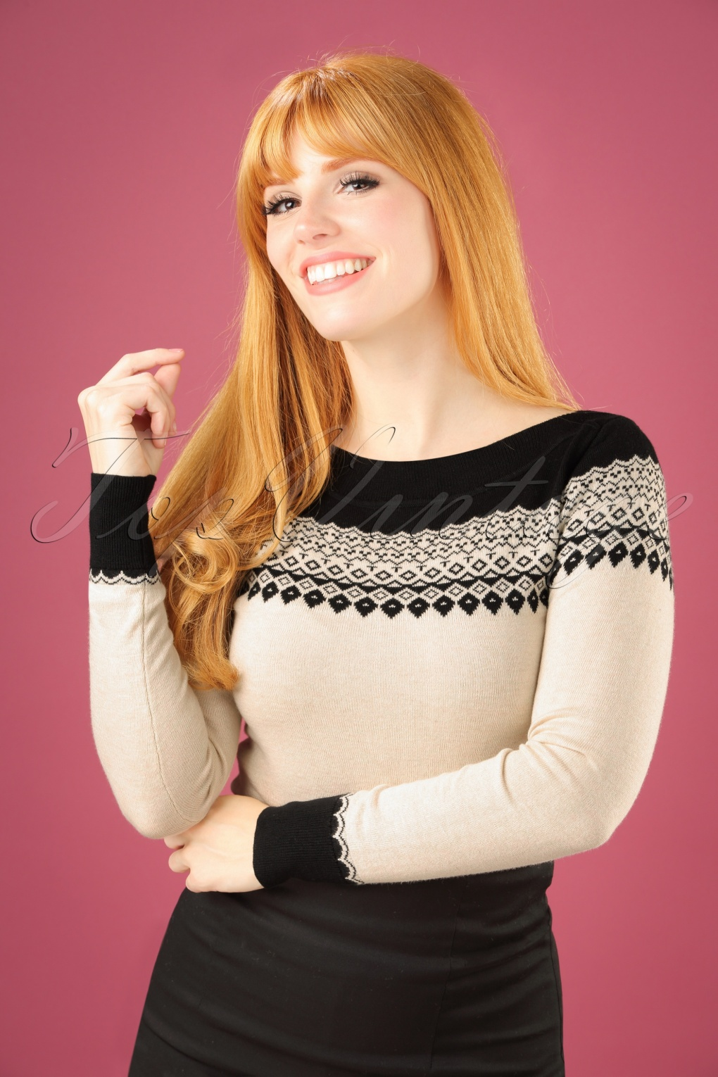 1950s Style Sweaters, Crop Cardigans, Twin Sets 50s Audrey Parker Top in Black and Cream £72.75 AT vintagedancer.com