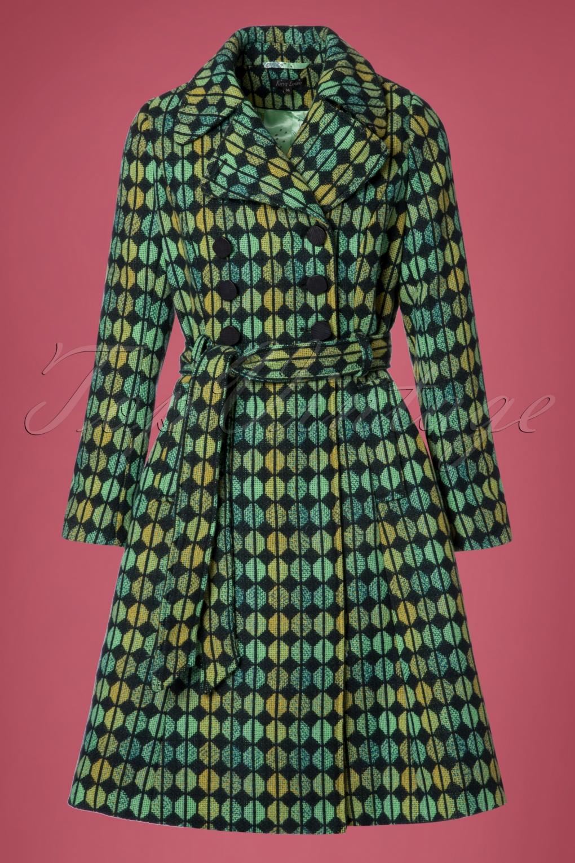 Retro Vintage Style Coats, Jackets, Fur Stoles 60s Simone Oregon Coat in Dark Navy £181.94 AT vintagedancer.com
