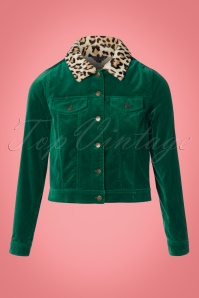 60s Janey Woven Velvet Jacket in Peacock Green