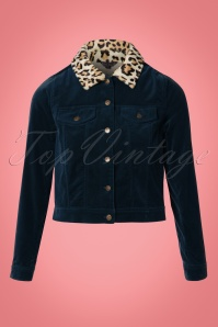 60s Janey Woven Velvet Jacket in Night Blue