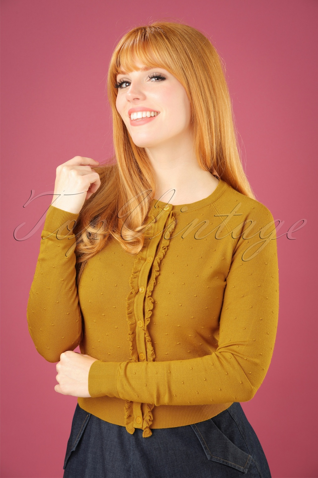 Retro Vintage Sweaters 60s Ruffle Droplet Fantasy Cardi in Yellow £61.73 AT vintagedancer.com