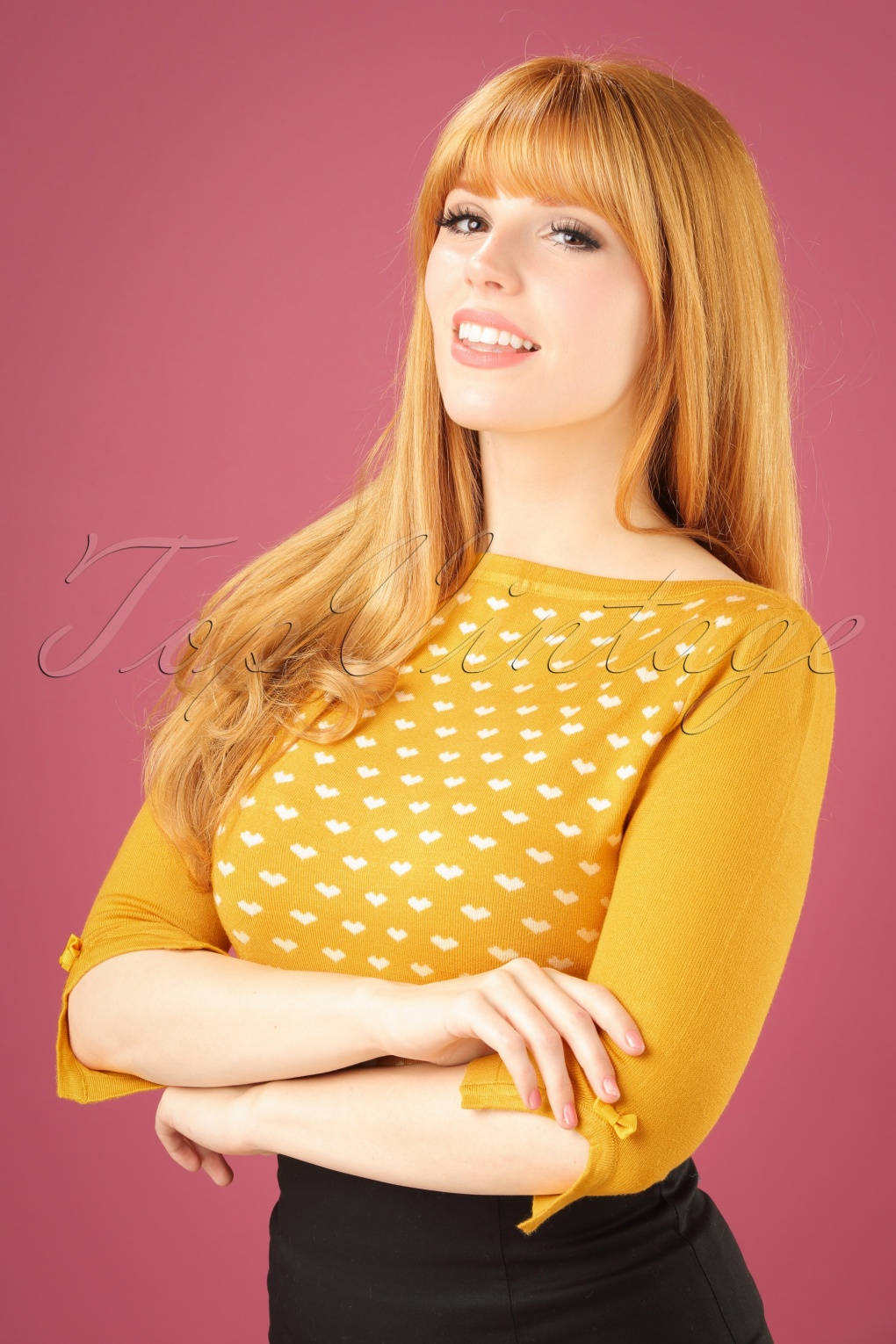 Retro Vintage Sweaters 60s Charming Heart Knit Sweater in Mustard £33.49 AT vintagedancer.com