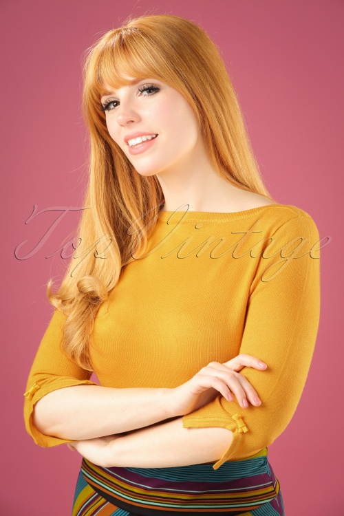 Banned Addicted Boatneck Bow Top in Mustard 113 80 22297 20151202 1W