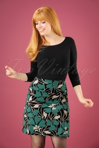 60s Shamrock Borderskirt in Black and Cream