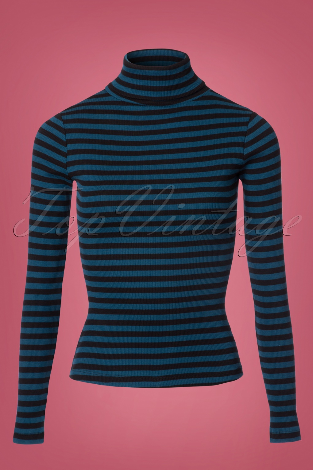 Shop 1960s Style Blouses, Shirts and Tops 70s Rollneck Rib Stripe Top in Storm Blue £45.45 AT vintagedancer.com