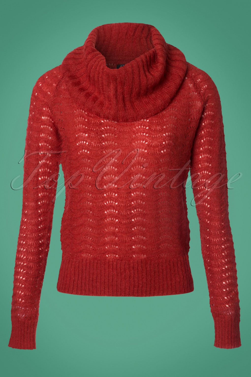 Vintage Sweaters: 1940s, 1950s, 1960s Pictures 60s Bayonne Royal Collar Wool Top in Sienna Red £86.40 AT vintagedancer.com