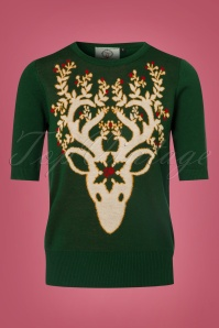 Dancing Days by Banned Ren Deer Sweater inForest Green 113 40 22354 20170717 0009w