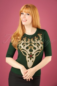 50s Moonrise Top in Forest Green