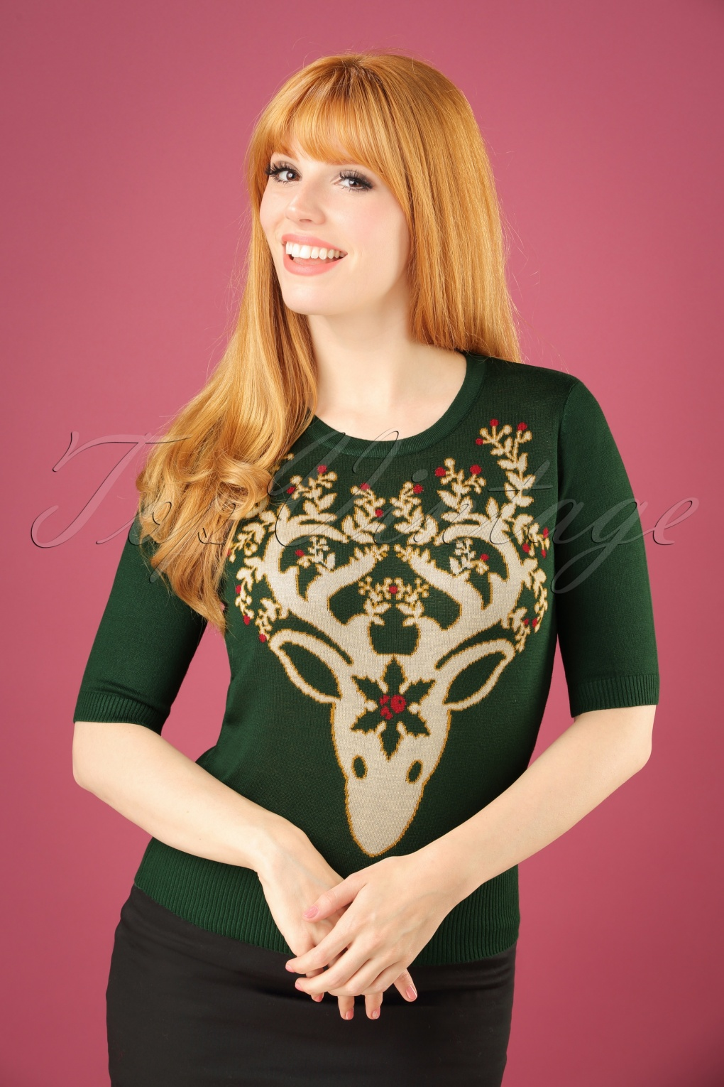 1950s Style Sweaters, Crop Cardigans, Twin Sets 50s Moonrise Top in Forest Green £34.53 AT vintagedancer.com