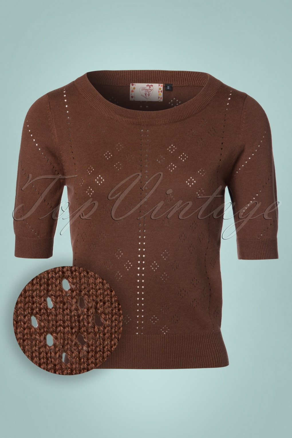 1950s Style Sweaters, Crop Cardigans, Twin Sets 50s Dune Jumper in Chocolate £34.53 AT vintagedancer.com