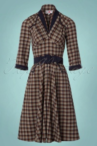 Miss Candyfloss Brown and Navy Checked Dress 102 79 22140 20170816 0017W