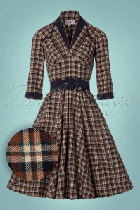 Miss Candyfloss Brown and Navy Checked Dress 102 79 22140 20170816 0004W1