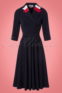 40s Peggy Spy Swing Dress in Navy