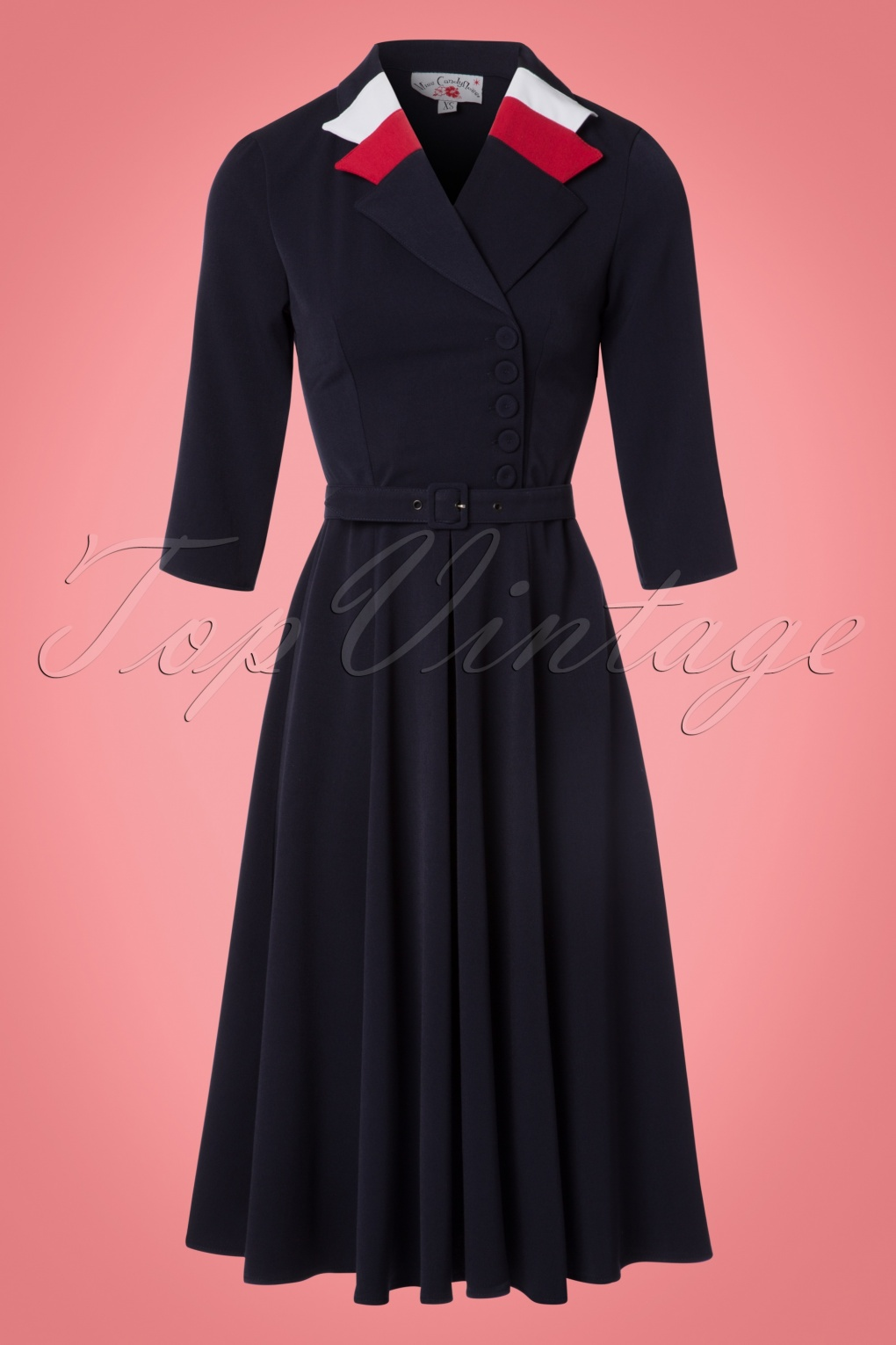 1940s Style Dresses and Clothing 40s Peggy Spy Swing Dress in Navy £101.49 AT vintagedancer.com
