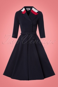 Miss Candyfloss Swing Dress in Navy Red 102 31 22131 20170816 0006W