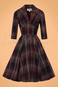 Miss Candyfloss Wine Tartan Dress 102 27 22138 1W
