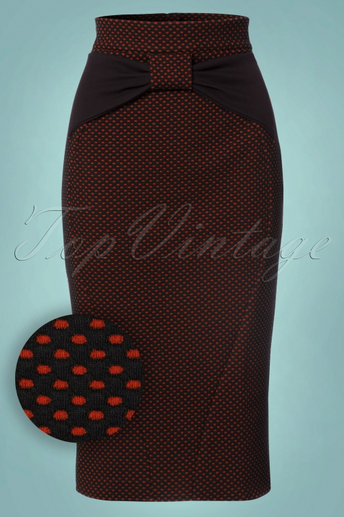 50s Victoria Polkadot Pencil Skirt in Red and Black