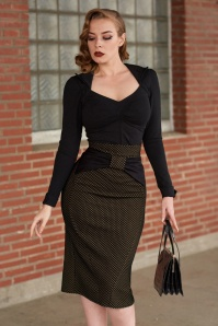 50s Victoria Polkadot Pencil Skirt in Tan and Black