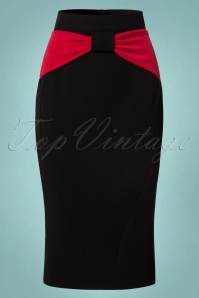 50s Victoria Bow Pencil Skirt in Red and Black