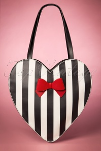 50s Hope Handbag in Black and White Stripes