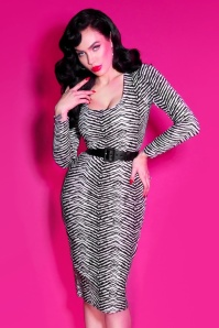 50s Troublemaker Wiggle Dress in Zebra