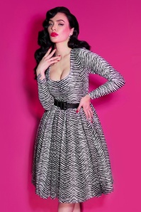 TopVintage exclusive ~ 50s Troublemaker Swing Dress in Zebra