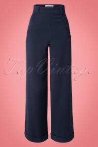 Nicolette High Waisted Swing Trousers Années 40 en Navy