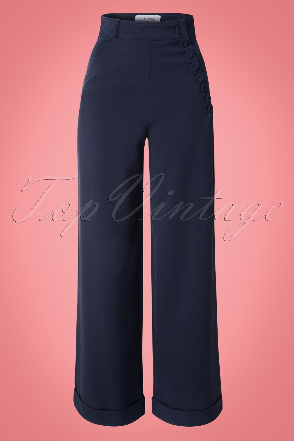 Vintage Wide Leg Pants 1920s to 1950s History 40s Nicolette High Waisted Swing Trousers in Navy £75.23 AT vintagedancer.com