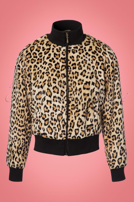 Retro Vintage Style Coats, Jackets, Fur Stoles 60s Rib Collar Fur Jacket in Leopard £127.04 AT vintagedancer.com