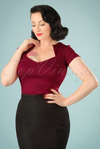 Steady Clothing 50s Sophia Top in Wine