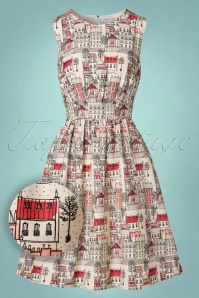 50s Lucy Paris Streets Dress in Cream