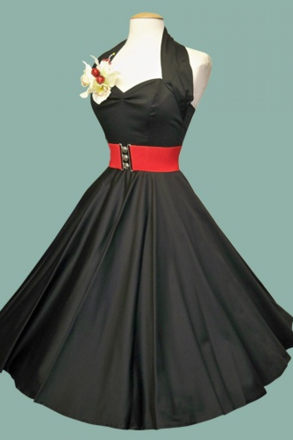 50s Retro Halter Black Sateen Swing Dress